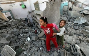 Children of Gaza in Rubble by Haidar Eid