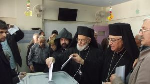 Greek Patriarch Gregorios III casts his ballot in the Syrian parliamentary elections.