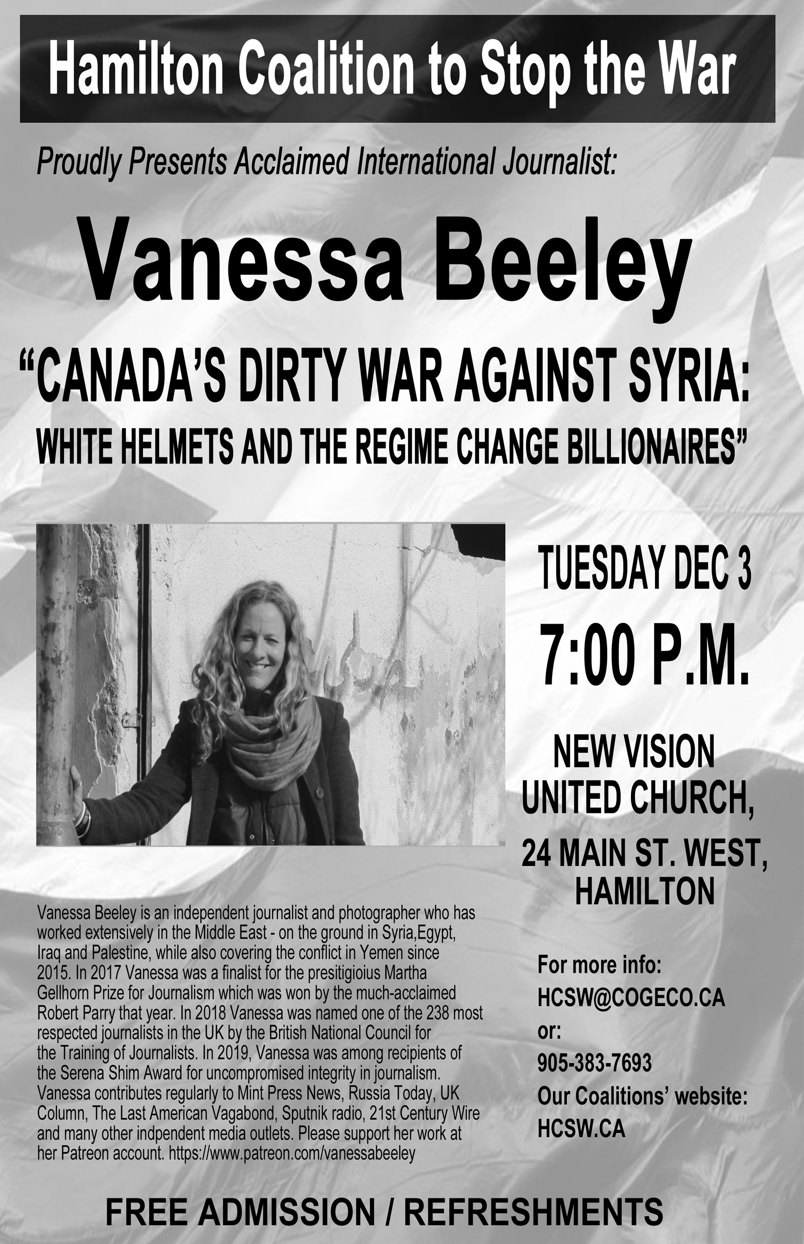 Vanessa Beeley black and white poster.